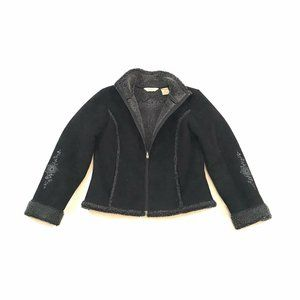 LL Bean Jacket Coat Faux Suede Shearling Sherpa